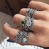 Fire Opal Diamond Ring,Fimkaul 12 PCS Fashion Rings Set Natural Gemstone Wedding Engagement Jewelry Set