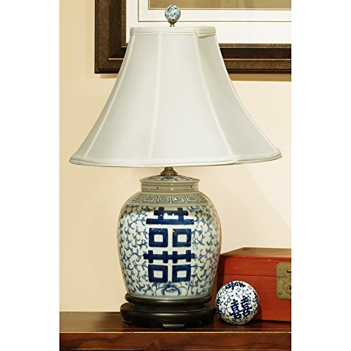 Lamp Ginger Porcelain Jar (ChinaFurnitureOnline Porcelain Ginger Jar Lamp, Blue and White Double Happiness)