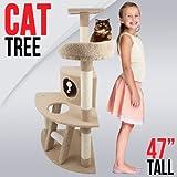 Cat Tree 47″ Level Condo Furniture Scratching Post Pet House Light Brown Scratcher, My Pet Supplies