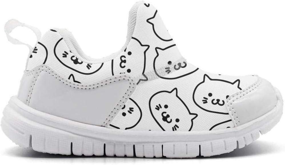 ONEYUAN Children Cat Kitten face White Kid Casual Lightweight Sport Shoes Sneakers Running Shoes