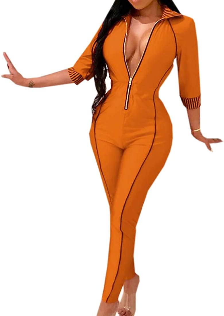 WSPLYSPJY Womens Long Sleeve Zip up Jumpsuits Bodycon One Piece Romper