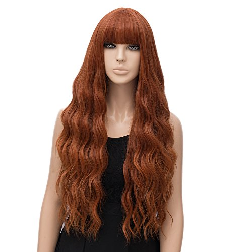 netgo Women's Orange Wig Long Fluffy Curly Wavy Hair Wigs for Girl Heat Friendly Synthetic Party Wigs -