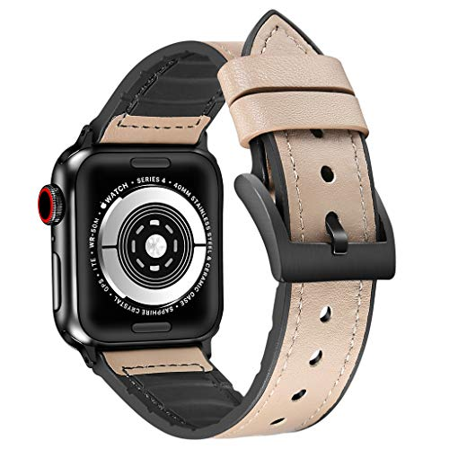 Haluoo Leather Sports Band Compatible with Apple Watch Series 4 44mm, Vintage TPU Leather Dressy Wristband Adjustable Replacement Straps Bracelet for iWatch Series 4 44mm Men Women (Khaki)