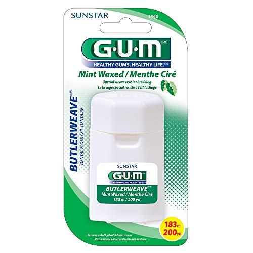 SUNSTAR BUTLER Gum Dental Floss Butlerweave Mint Waxed, 2 Count