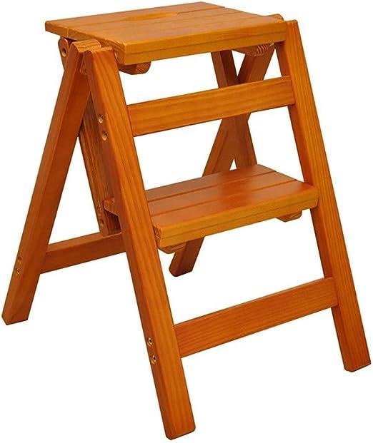 GLJJQMY Escalera de Madera en casa multifunción Taburete Plegable Taburete Elevador Taburete 2 Escalera para niños Taburete Estante Silla Silla 39.5x43x47.5cm (Color : Light Walnut): Amazon.es: Hogar