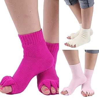 XdiseD9Xsmao 1 Pair Breathable Sweat Absorbent Socks Yoga GYM Massage Five Toe Separator Socks Foot Alignment Pain Relief Socks