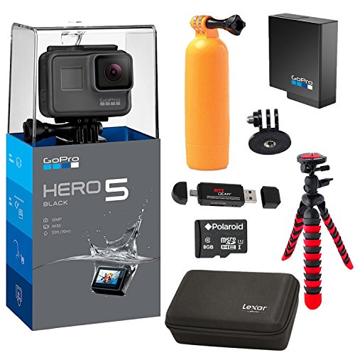 GoPro HERO5 Black Camera, Extra GoPro Rechargeable battery, Lexar Action Camera Case, Flexible Tripod, Polaroid 8GB MicroSD card and Accessory Bundle