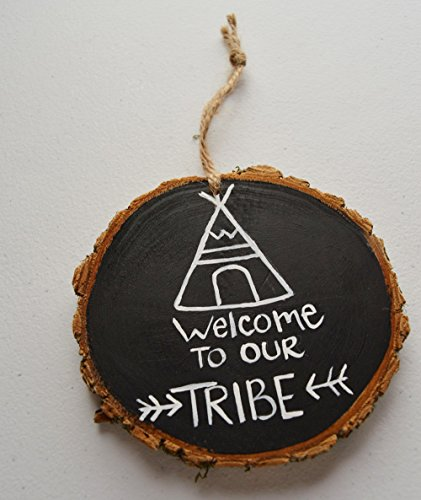 Hand Painted Welcome To Our Tribe Family Wood Tree Slice Ornament Gift Tag Wall Decoration 4-5 inches Chalkboard Look