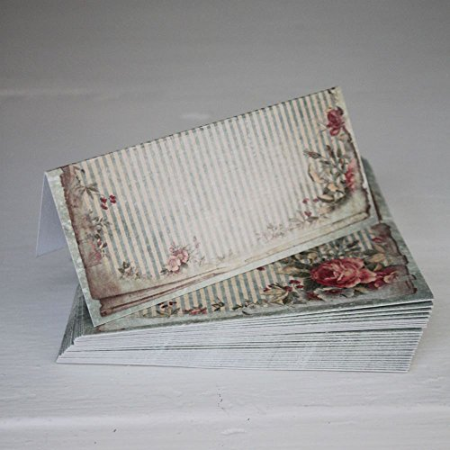 Vintage Green Floral Wedding Place Cards / Setting x 25 - Shabby Style - Floral Setting