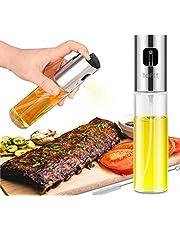 Olive Oil Sprayer, Transparent Food-grade Glass Oil Mister, Portable Cooking Oil Spray Vinegar Bottle Oil Dispenser for Kitchen, BBQ, Making Salard, Baking, Roasting, Grilling, Frying, Stainless Steel (100ML)