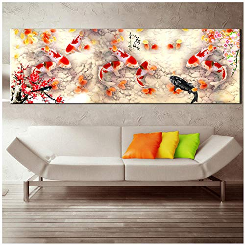 dayanzai Wall Art Picture Hd Print Chinese Abstract Nine Koi Fish Landscape Oil Painting On Canvas Poster for Living Room Modern Decor 40X120Cm No Frame