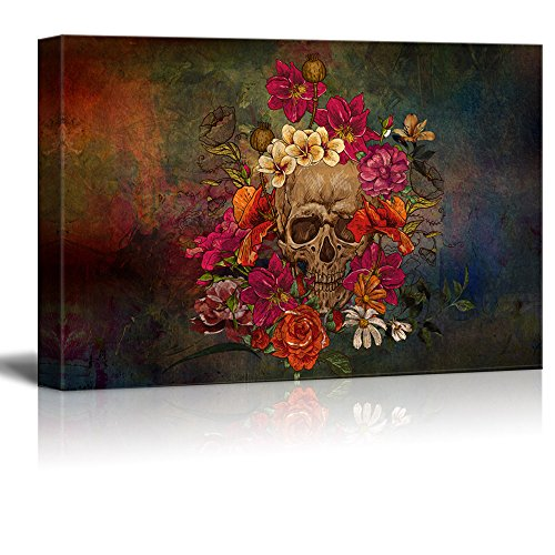 wall26 Canvas Print Wall Art - Day of the Dead (Dia De Los Muertos) Themed Skull with Flowers - Gallery Wrap Modern Home Decor | Ready to Hang - 16x24 inches Day Art Print