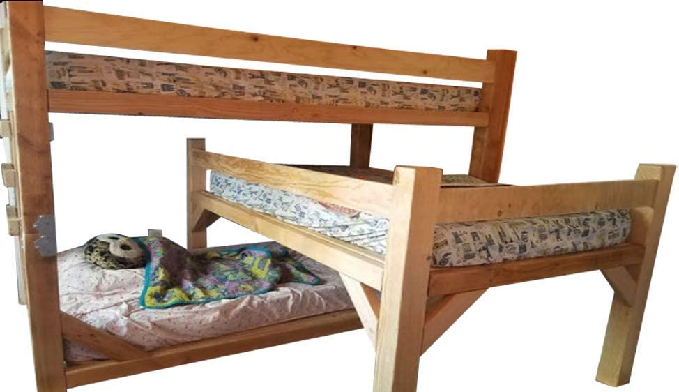 Triple Bunk Bed Plans DIY Wooden Sleeper Kids Bedroom Furniture Build Your Own