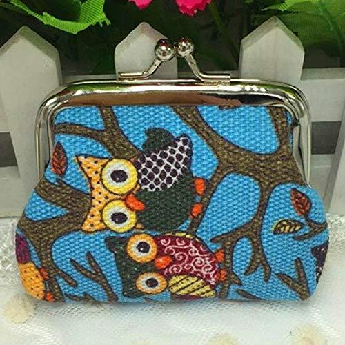 Cute Owl Design Coin Money Bag Purse Wallet Canvas For Women Girl Lady Gift (Color - Light Blue)
