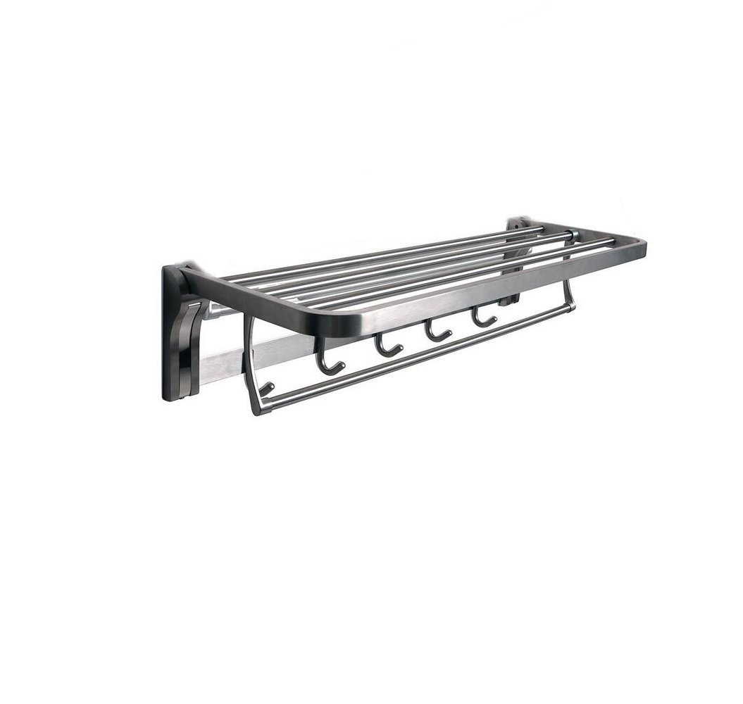 TOGU SUS 304 Stainless Steel 4 Racks Foldable Bathroom Shelf with Towel Bar, Heavy Duty Towel Shelves with 5 Hooks for Bathroom Lavatory,Brushed Stainless Steel Finish