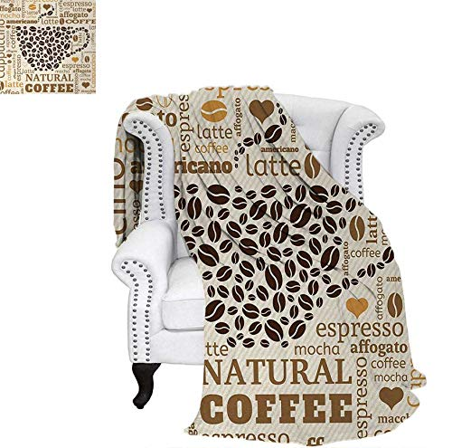 - Summer Quilt Comforter Latte Cappuccino Affogato Natural with Cup Shaped Coffee Beans Image Digital Printing Blanket 60