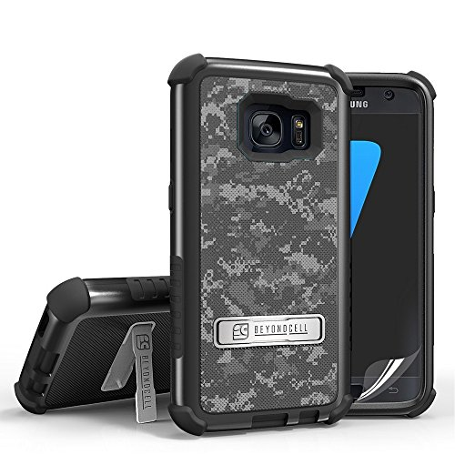 Galaxy S7 Case, S7 Case, SM-G930, Beyond Cell Tri Shield [Dirtproof]High Impact Armor Hybrid Hard+Soft Rugged 3 Layer Protection Case&built in kickstand FREE Screen Protector (Digital Camouflage) from Beyond Cell