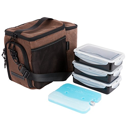 EDC Meal Prep Bag - Full Meal Prep Lunch Box Management System includes Portion Control Meal Prep Containers + Ice Pack (3 Meal Insulated Cooler Bag, Black) (3 Meal, Brown (Waxed Canvas))