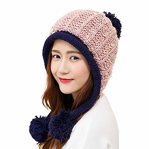 e796e880c555a HUAMULAN Women Winter Peruvian Beanie Hat Ski Cap Fleece Lined Ear ...