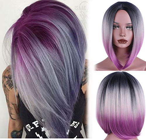 (aSulis Ombre Wigs Short Bob Wigs Purple Colorful Party Wig Synthetic Daily Wig for Women)