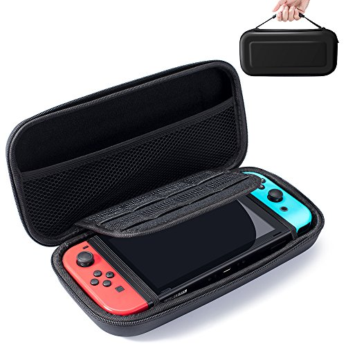 Snowpink Switch Carrying Case compatible with Nintendo Switch – Protective Hard Shell Portable Travel Carry Case Pouch for Nintendo Switch Console & Accessories, Black
