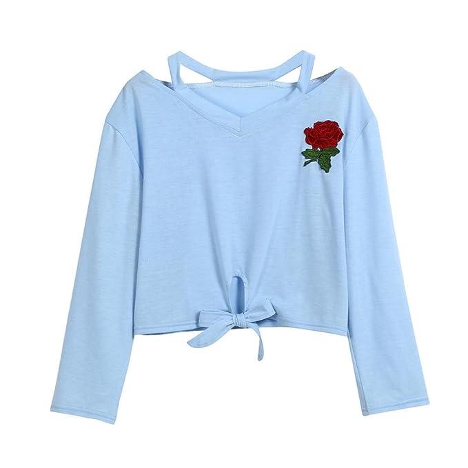 Amlaiworld Sweatshirts Rose Stickerei locker Damen Sweatshirts Blumen kurz  Niedlich Sch ne weich Herbst Langarmshirts f7429d1e7c