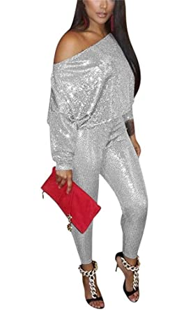 0d7a67027f9b Amazon.com  LKOUS Womens Sexy 2 Piece Outfits Glitter Sequin Off The  Shoulder Top and Pants Set Bodycon Jumpsuit Clubwear  Clothing