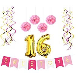 Sterling James Co. Sweet 16 Birthday Party Pack – Sweet Sixteen Decorations, Party Favors, Supplies, Gifts, Themes Ideas - Milestone Happy Birthday Decorations