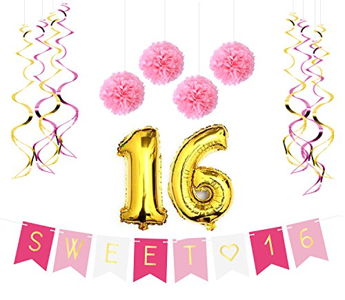 Sweet 16 Birthday Party Pack – Sweet Sixteen Decorations, Party Favors, Supplies, Gifts, Themes and Ideas - Milestone Happy Birthday Decorations