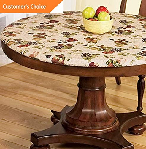 (Kaputar Elasticized Tablecloths Table Cover Fitted Cover Vinyl Polyester Fabric Backing | Model TBLCLTH - 912 |)