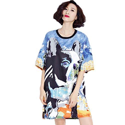 Vestido De La Manera De Gran Tamaño Sueltos HGDRSpring Y Verano De Las Mujeres Blue