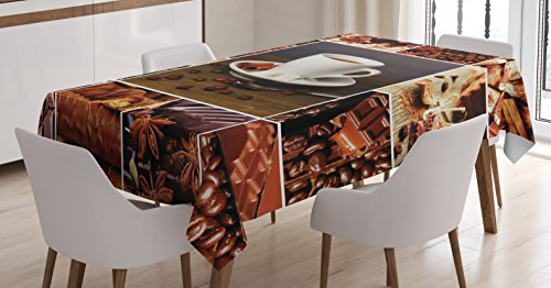 Ambesonne Brown Tablecloth, Coffee and Chocolate Themed Collage Mug Cinnamon Sweet Bars Cocoa Tasty Yummy Snacks, Dining Room Kitchen Rectangular Table Cover, 60W X 84L inches, Brown White ()