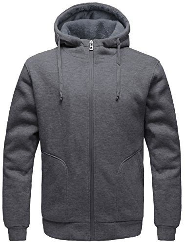 eatshirt Sherpa Lined Hooded Cotton Fleece Slim Hoodie Jacket Dark Grey Medium (Sherpa Cotton Jacket)