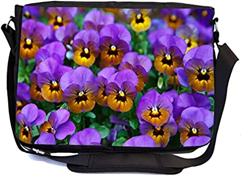 Rikki Knight Purple Pansies Design Premium Messenger Bag - School Bag - Laptop Bag - with padded insert for School or Work - With Matching Pencil - Pansy Messenger