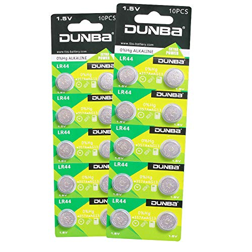 - Dunba LR44 AG13 1.5V Button Cell Coin Battery A76 357 303 SR44 Compatible 20 Pack