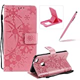 Strap Leather Case for Huawei P10 Lite,Wallet Leather Case for Huawei P10 Lite,Herzzer Premium Stylish Creative Pink Art Painted Magnetic Bookstyle Flip Portable Stand Case with Soft Rubber Card Holder Slots