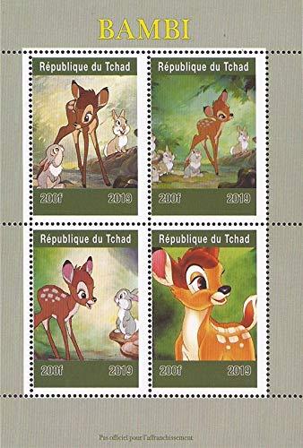 Chad - 2019 Disney's Bambi Film - 4 Stamp Sheet - 3B-679