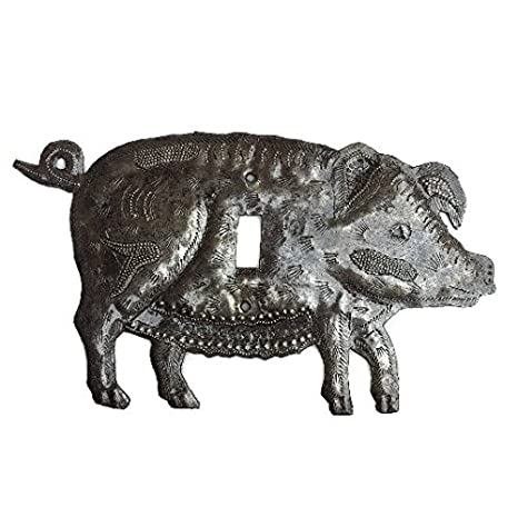 Single Switch Lighting Recycled Metal Outlet Plate Cover Pig Amazon Com Industrial Scientific