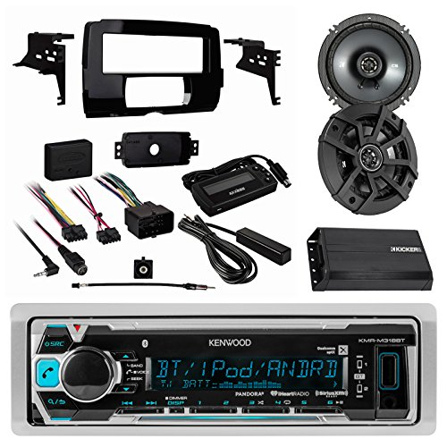 Kenwood Marine Receiver W  Bluetooth  2X Kicker 600W 6 1 2  Cs Series 2 Way Black Speakers  Metra Harley Davidson Single Din Dash Kit 2014 And Up  Kicker Compact 2 Channel Amplifier