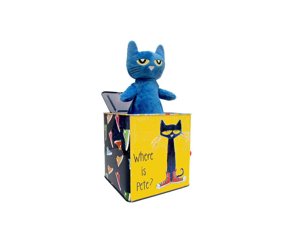 Mozlly Multipack - Pete the Cat Musical Jack in the Box - 5 x 7 x 5 inch - Pop Goes the Weasel - Wind Up - Novelty Toddler Pop Up Toys (Pack of 6) - Item #S184003_X6