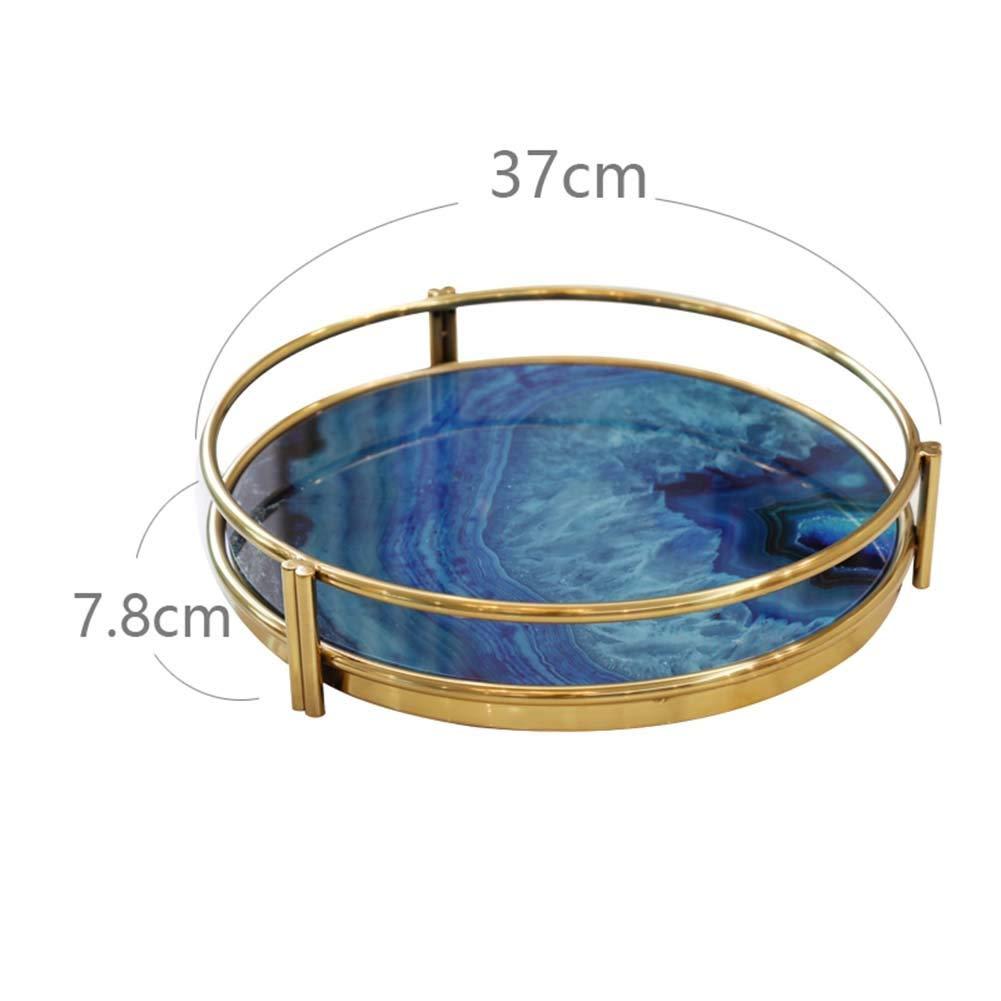 TINGTING フルーツバスケット 収納バスケット フルーツかご盛り 二重層アフタヌーンティースナックスタンドケーキポットフルーツ収納トレイ大理石金属 (色 : BlueB, サイズ さいず : As shown) As shown BlueB B07PN4SSL3