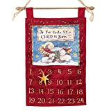 Baby Jesus ''For Unto Us A Child Is Born Isaiah 9:6'' Christmas Advent Calendar Wall Hanging