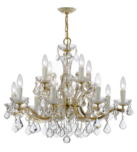 - Chandeliers 12 Light With Gold Clear Swarovski Strass Crystal Wrought Iron 30 inch 720 Watts - World of Lighting