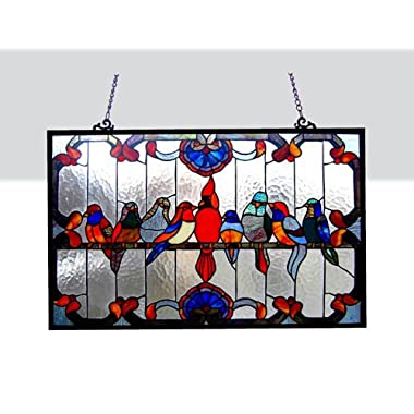 Tiffany Style Family Birds Design Glass Window Panel 32x20