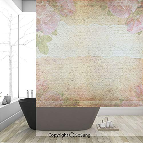(3D Decorative Privacy Window Films,Floral Nostalgic Collage of Old Latters and Roses Artsy Retro Romantic Artwork Print,No-Glue Self Static Cling Glass film for Home Bedroom Bathroom Kitchen Office 36)
