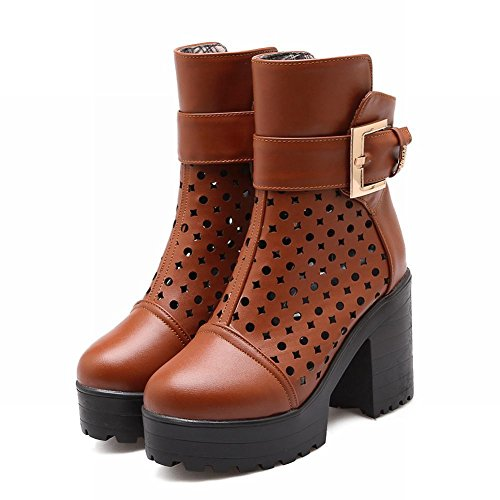 Buckle Mortorcycle Womens Platform Block heel Boots Short Latasa Hollow Out Yellowish Brown Boots High Chic qHIISF