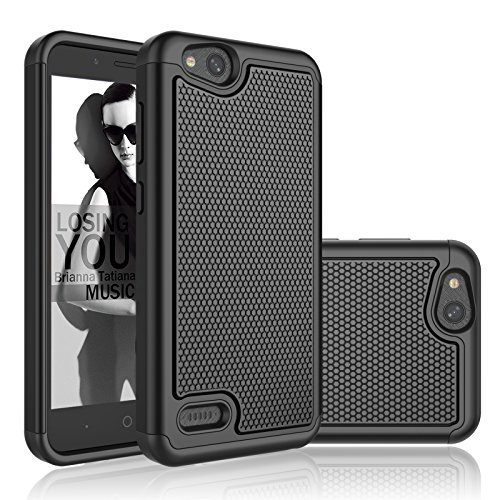 ZTE Blade Vantage Case, ZTE Tempo X/AVID 4 Case/ N9137 / Z839, Njjex [Nveins] Shock Absorbing Hybrid Dual Layers Rubber Plastic Shell Impact Defender Bumper Rugged Cover [Black] Compatible with ZTE