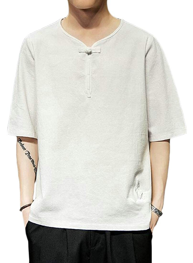 Fensajomon Mens Embroidery 1//2 Sleeve Solid Color Casual Loose T-Shirt Tee