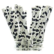 Cow Party Straws, Barnyard Paper Straws (50 Pack) - Farm Birthday Party Supplies, Cow Hide Print Straws, Animal Party Tableware & Paper Drinking Straws