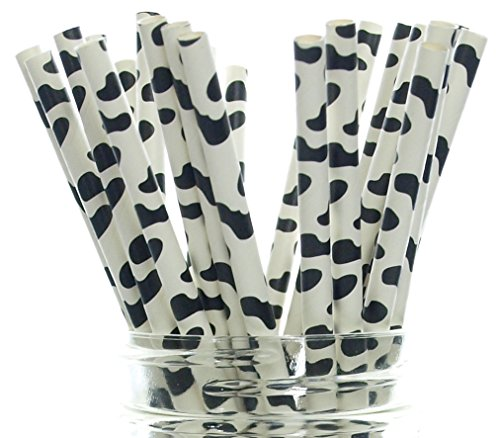 Cow Party Straws, Barnyard Paper Straws (50 Pack) - Farm Birthday Party Supplies, Cow Hide Print Straws, Animal Party Tableware & Paper Drinking ()